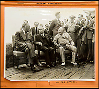 BNPS.co.uk (01202 558833)<br /> Pic: C&amp;T/BNPS<br /> <br /> At the Quebec Conference in Sept 1944.<br /> <br /> A humble secretary's remarkable first hand archive of some of the most momentous events of WW2 has come to light.<br /> <br /> 'Miss Brenda Hart' worked in the Cabinet Office during the last two years of the war, travelling across the globe with the Allied leaders as the conflict drew to a close.<br /> <br /> Her unique collection of photographs and momentoes of Churchill, Stalin and other prominent Second World War figures have been unearthed after more than 70 years.<br /> <br /> The scrapbooks, which also feature Lord Mountbatten and Vyacheslav Molotov, were collated by Brenda Hart who, in her role as secretary to Churchill's chief of staff General Hastings Ismay, enjoyed incredible access to him and other world leaders.<br /> <br /> She also wrote a series of letters which give fascinating insights, including watching Churchill and Stalin shaking hands at the Bolshoi ballet in 1944, being behind Churchill as he walked out on to the balcony at the Ministry of Health to to wave to some 50,000 Londoners on VE day and even visiting Hitler's bombed out Reich Chancellery at the end of the war.<br /> <br /> This unique first hand account, captured in a collection of photos, passes, documents and letters are being sold at C&amp;T auctioneers on15th March with a &pound;1200 estimate.