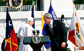 The pope and the President shake hands after the Pope speech, during the Arrival Ceremony hosted by the president and Mrs Bush in the South Lawn of the  White House, Washington DC, April 16, 2008..
