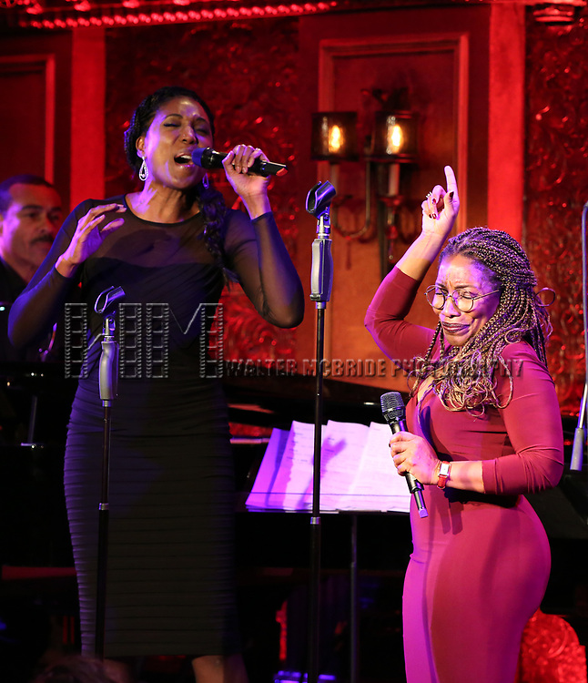 """Nita Whitaker and Stephanie Mills  on stage during a Song preview performance of the BeBe Winans Broadway Bound Musical """"Born For This"""" at Feinstein's 54 Below on November 5, 2018 in New York City."""