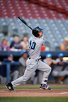 Hudson Valley Renegades designated hitter Tanner Dodson (10) follows through on a swing during a game against the Connecticut Tigers on August 20, 2018 at Dodd Stadium in Norwich, Connecticut.  Hudson Valley defeated Connecticut 3-1.  (Mike Janes/Four Seam Images)