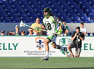Annapolis, MD - July 7, 2018: New York Lizards Troy Reh (18) in action during the game between New York Lizards and Chesapeake Bayhawks at Navy-Marine Corps Memorial Stadium in Annapolis, MD.   (Photo by Elliott Brown/Media Images International)