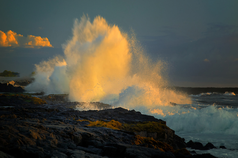 Storm wave at sunset on Hawaii The Big Island