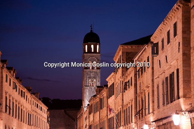 Main street, Placa-Stradun, at night in Dubrovnik, Croatia.