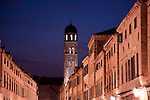 Main street, Placa-Stradun, at night in Dubrovnik, Croatia.