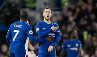 Eden Hazard of Chelsea celebrates his second goal during the Premier League match between Chelsea and West Bromwich Albion at Stamford Bridge, London, England on 12 February 2018. Photo by Andy Rowland.
