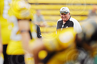 July 12, 2008; Hamilton, ON, CAN; Hamilton Tiger-Cats head coach Charlie Taaffe prior to the CFL football game against the Saskatchewan Roughriders at Ivor Wynne Stadium. The Roughriders defeated the Tiger-Cats 33-28. Mandatory Credit: Ron Scheffler.