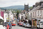 View over the town centre of Tavistock, Devon, England towards the moors of Dartmoor national  park