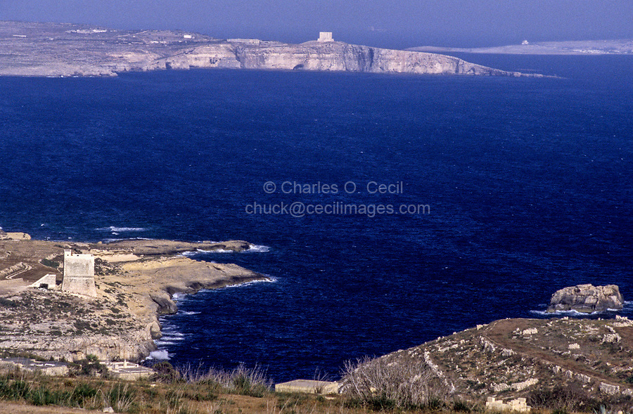 Gozo, Comino, Malta.  Line-of-Sight Signal Towers, Gozo to Comino to Malta, from Middle Ages Offered a way to Signal Warnings before the era of modern Communications.