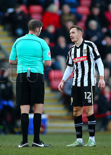 February 18th 2017,  Matchroom Stadium, Leyton, London, England, Skybet Division 2 football, Leyton Orient versus Notts County;  Robert Milsom of Notts County receives a warning from Referee Lee Collins, after a rough challenge