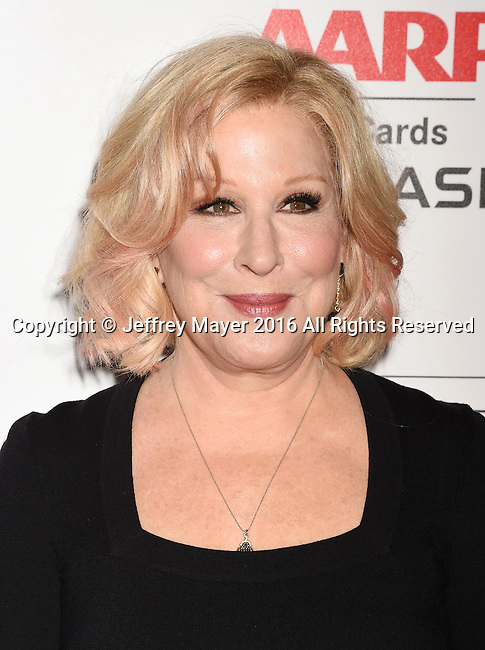 BEVERLY HILLS, CA - FEBRUARY 08: Actress/singer Bette Midler attends AARP's Movie For GrownUps Awards at the Regent Beverly Wilshire Four Seasons Hotel on February 8, 2016 in Beverly Hills, California.