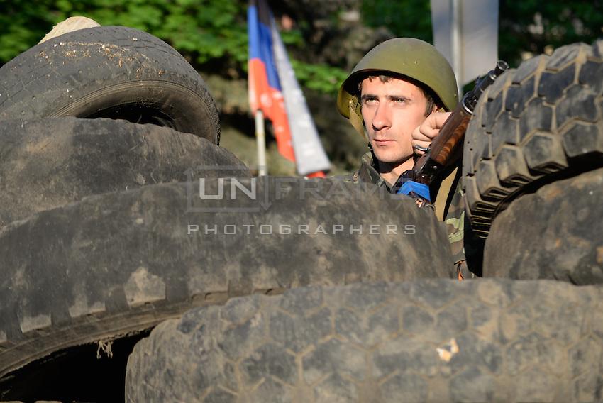 Pro-russian soldier near Slavyansk.  Donetsk region.