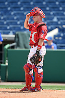 Clearwater Threshers catcher Chad Carman (18) during a game against the Dunedin Blue Jays on April 6, 2014 at Bright House Field in Clearwater, Florida.  Dunedin defeated Clearwater 5-2.  (Mike Janes/Four Seam Images)