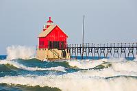 64795-01209 Grand Haven South Pier Lighthouse at sunrise on Lake Michigan, Ottawa County, Grand Haven, MI
