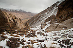Snow-covered canyon in mountains, Sarychat-Ertash Strict Nature Reserve, Tien Shan Mountains, eastern Kyrgyzstan