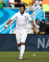 Luis Suarez of Uruguay celebrates at full time