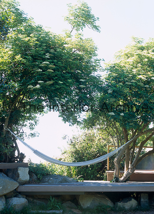 A hammock strung between two trees across the deck is the perfect spot for relaxing