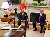 United States President Donald J. Trump, right, speaks to the media during a meeting with His Royal Highness Prince Salman bin Hamad Al-Khalifa, Crown Prince, Deputy Supreme Commander, and First Deputy Prime Minister of the Kingdom of Bahrain, left, in the Oval Office of the White House in Washington, DC on Monday, September 16, 2019.<br /> Credit: Chris Kleponis / Pool via CNP