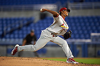 Palm Beach Cardinals pitcher Silfredo Garcia (44) delivers a pitch during the second game of a doubleheader against the Dunedin Blue Jays on July 31, 2015 at Florida Auto Exchange Stadium in Dunedin, Florida.  Dunedin defeated Palm Beach 4-0.  (Mike Janes/Four Seam Images)