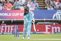 Jason Roy (England) flips Mitchell Starc (Australia) over backward square leg for six during Australia vs England, ICC World Cup Semi-Final Cricket at Edgbaston Stadium on 11th July 2019