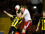 Neill Collins of Sheffield Utd and Shane Cansdell-Sherriff of Burton Albion - English League One - Sheffield Utd vs Burton Albion - Bramall Lane Stadium - Sheffield - England - 1st March 2016 - Pic Simon Bellis/Sportimage