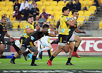 Ben Lam heads for the tryline during the Super Rugby match between the Hurricanes and Chiefs at Westpac Stadium in Wellington, New Zealand on Friday, 13 April 2018. Photo: Dave Lintott / lintottphoto.co.nz