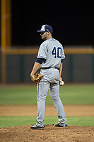AZL Padres 1 relief pitcher Jake Sims (40) looks in for the sign during an Arizona League game against the AZL Cubs 1 at Sloan Park on July 5, 2018 in Mesa, Arizona. The AZL Cubs 1 defeated the AZL Padres 1 3-1. (Zachary Lucy/Four Seam Images)