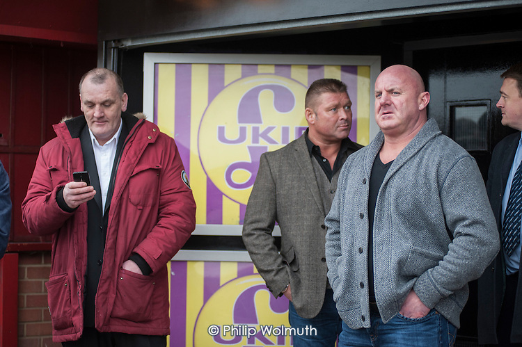 Local UKIP supporters outside the Movie Starr cinema, Canvey Island, South Essex, following the launch of the party's General Election campaign.