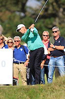 Soren Hansen (DEN) on the 18th tee during Round 2 of the KLM Open at Kennemer Golf &amp; Country Club on Friday 12th September 2014.<br /> Picture:  Thos Caffrey / www.golffile