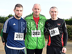 Aidan Savage, Johnny McArdle and Fergal McGahey who took part in the Annagassan 10K. Photo:Colin Bell/pressphotos.ie