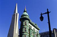 Zoetrope Building and The Transamerica Pyramid skyscraper in San Francisco, California, USA