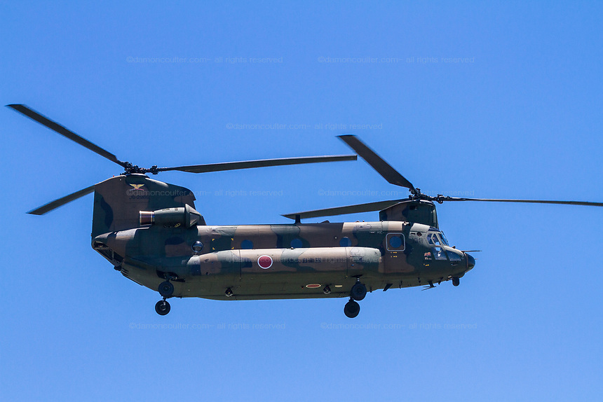 A Boeing CH 47 Chinook, helicopter flying near Atsugi Base, Kanagawa, Japan. Friday June 29th 2018