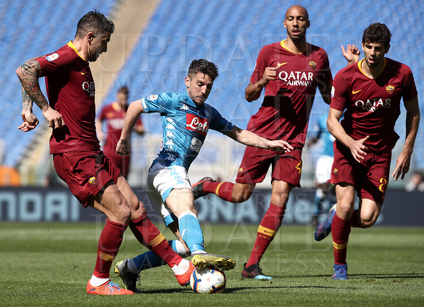 Football, Serie A: AS Roma - SSC Napoli, Olympic stadium, Rome, March 31, 2019. <br /> Napoli's Dries Mertens (d) in action with Roma's Aleksandar Kolarov (l) during the Italian Serie A football match between Roma and Napoli at Olympic stadium in Rome, on March 31, 2019.<br /> UPDATE IMAGES PRESS/Isabella Bonotto