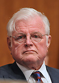 """Washington, D.C. - January 8, 2009 -- United States Senator Edward M. """"Ted"""" Kennedy lstens to the testimony of former United States Senator Tom Daschle (Democrat of South Dakota) as he testifies before the United States Senate Committee on Health, Labor, Education, and Pensions on his nomination to be Secretary of Health and Human Services in Washington, D.C. on Thursday, January 8, 2009..Credit: Ron Sachs / CNP"""