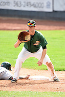 Clinton LumberKings first baseman Jeff Zimmerman (32) holds a runner on during a game against the Beloit Snappers on August 17, 2014 at Ashford University Field in Clinton, Iowa.  Clinton defeated Beloit 4-3.  (Mike Janes/Four Seam Images)