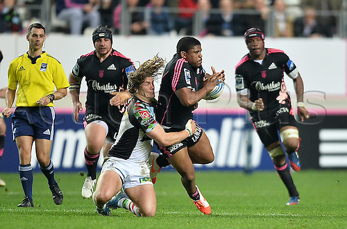 04.04.2014. Paris, France. Amlin Challenge Cup Rugby. Stade Francais versus Harlequins.  Jonathan Danty (sf) and Luke Wallace (har)