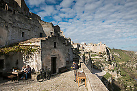 Hotel Sextantio and the view over Torrente Gravina and Parco della Murgia Materana, Matera, Basilicata, Italy