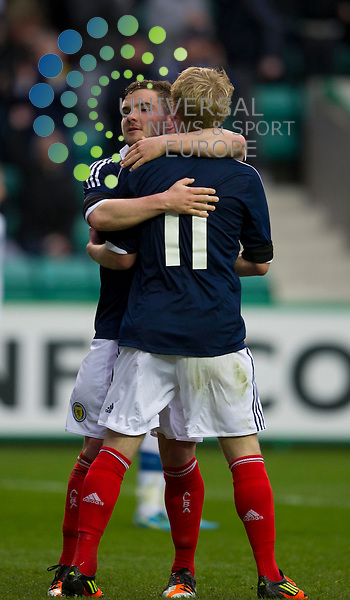 Alex MacDonald congratulates goalscorer for Scotland Gary Mackay-Steven during the Under 21 International Challenge match between Scotland and Italy at Easter Road Stadium, Edinburgh. 25 April. Picture by Ian Sneddon / Universal News and Sport (Scotland). All pictures must be credited to www.universalnewsandsport.com. (Office) 0844 884 51 22.