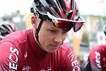 Chris Froome (GBR) Team Ineos looking pensive before Stage 1 of the Criterium du Dauphine 2019, running 142km from Aurillac to Jussac, France. 9th June 2019<br /> Picture: Colin Flockton | Cyclefile<br /> All photos usage must carry mandatory copyright credit (© Cyclefile | Colin Flockton)