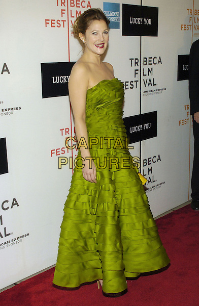 "DREW BARRYMORE.6th Annual Tribeca Film Festival - ""Lucky You""  World Premiere held at the Borough of Manhattan Community College, New York City, New York, USA..May 1st, 2007.full length strapless green ruffle layered ruffles dress .CAP/ADM/BL.©Bill Lyons/AdMedia/Capital Pictures *** Local Caption ***"
