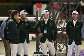 29th September 2017, Real Club de Polo de Barcelona, Barcelona, Spain; Longines FEI Nations Cup, Jumping Final; SWEETNAM Shane, ALLEN Bertram, BREEN Shane, LYNCH Denis of IRELAND team discuss the course before the Nations Cup Final