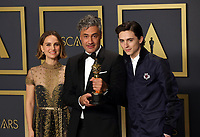 09 February 2020 - Hollywood, California - Natalie Portman, Timothée Chalamet, Taika Waititi attend  the 92nd Annual Academy Awards presented by the Academy of Motion Picture Arts and Sciences held at Hollywood & Highland Center. Photo Credit: Theresa Shirriff/AdMedia