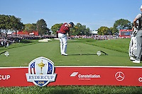 Zach Johnson (Team USA) on the 17th tee during Saturday morning foursomes at the Ryder Cup, Hazeltine National Golf Club, Chaska, Minnesota, USA.  01/10/2016<br /> Picture: Golffile | Fran Caffrey<br /> <br /> <br /> All photo usage must carry mandatory copyright credit (&copy; Golffile | Fran Caffrey)