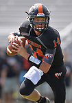 Wesclin quarterback Devon Kahrhoff runs with the ball as he looks for an open receiver. Wesclin defeated Dupo 34-30 on Saturday August 31, 2019 in a game that was stopped Friday night at halftime due to storms. <br /> Tim Vizer/Special to STLhighschoolsports.com
