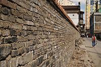 Brick wall, Shanghai, China