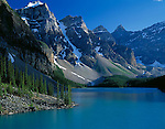 Banff National Park, Canada<br /> Moraine Lake under the towering Wenkchemna Peaks of the Candadian Rockies