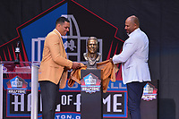 Canton, Ohio - August 3, 2019: Tony Gonzalez unveils his bust at the Tom Benson Hall of Fame Stadium in Canton, Ohio August 3, 2019 after his induction into the Pro Football Hall of Fame.  (Photo by Don Baxter/Media Images International)