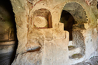 "Pictures & images of the interior font of the  Comlekci Church,  10th century, the Vadisi Monastery Valley, ""Manastır Vadisi"",  of the Ihlara Valley, Guzelyurt , Aksaray Province, Turkey."