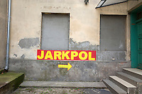 Directional arrow to the Jarkpol over the road transport company. Tomaszow Mazowiecki Central Poland