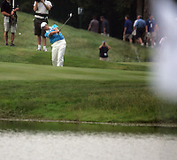 Oliver Wilson playing over the water on the 7th during the morning foursomes at The 37th Ryder cup from Valhalla Golf Club in Louisville, Kentucky....Photo: Fran Caffrey/www.golffile.ie.