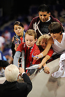 New York Red Bulls head coach Hans Backe signs autographs for fans before the match. The New York Red Bulls defeated the Kansas City Wizards 1-0 during a Major League Soccer (MLS) match at Red Bull Arena in Harrison, NJ, on October 02, 2010.